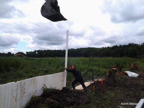 Miljöspont som tätkärna vid höjning av våtmark för ökad volym dagvatten.